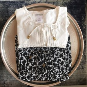 Blouse Bundle: Cream and Black with Round Circles